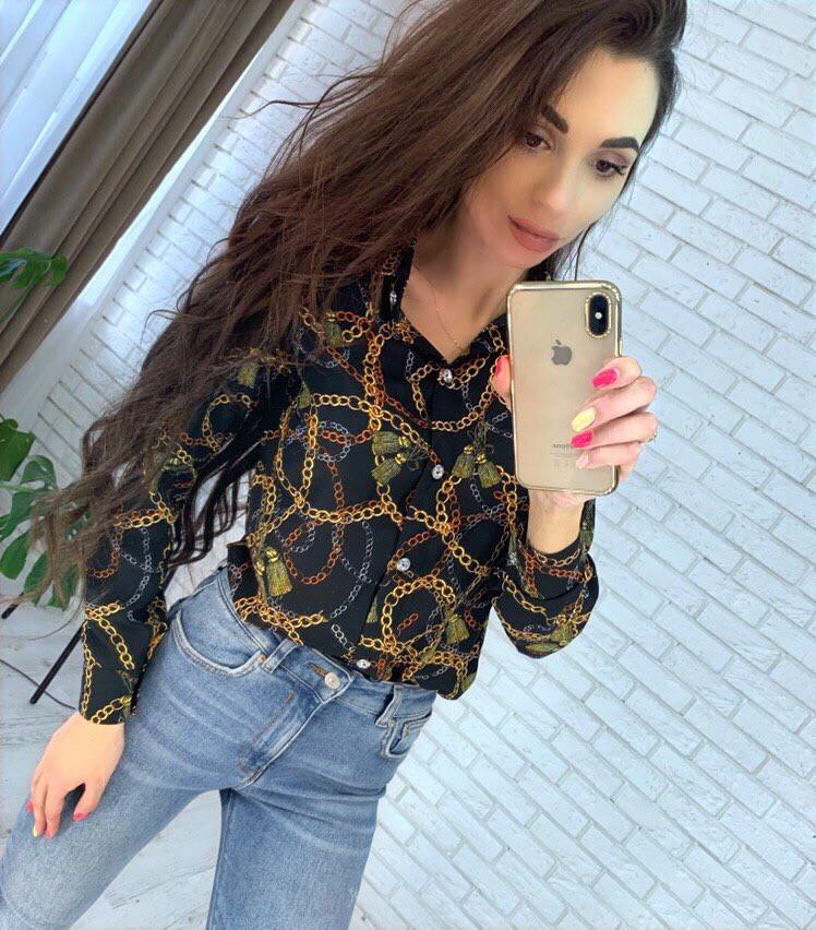 Женская рубашка из креп шифона с принтом