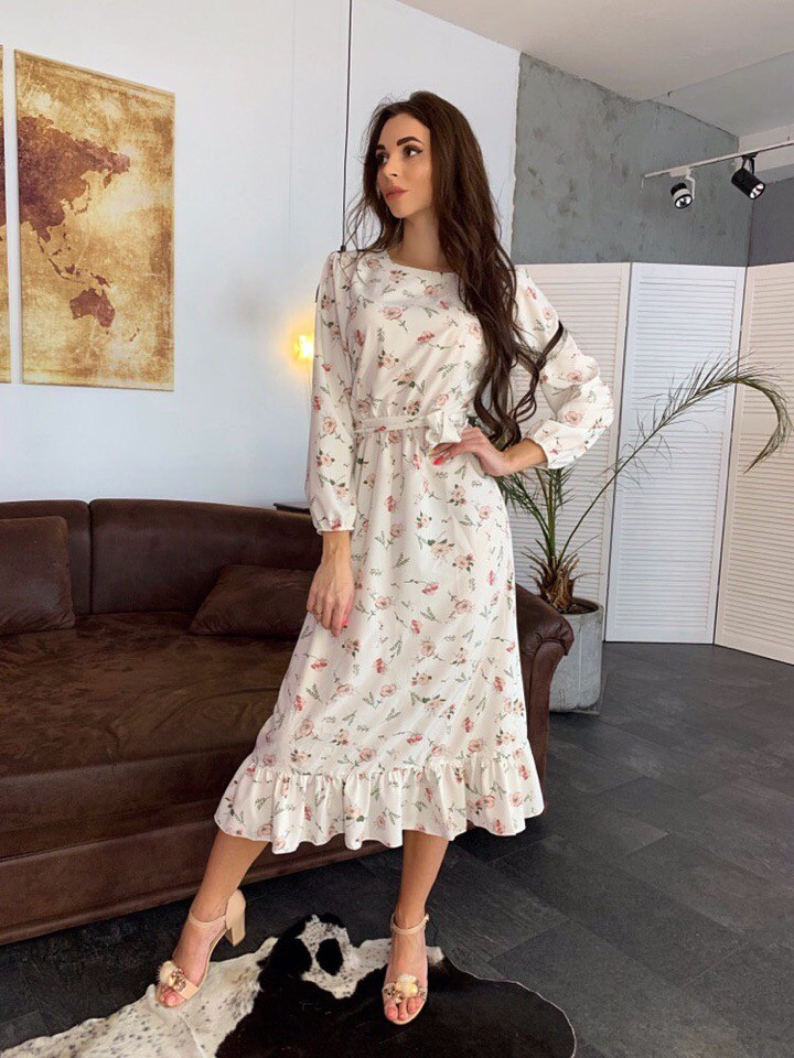 Стильное повседневное женское платье миди
