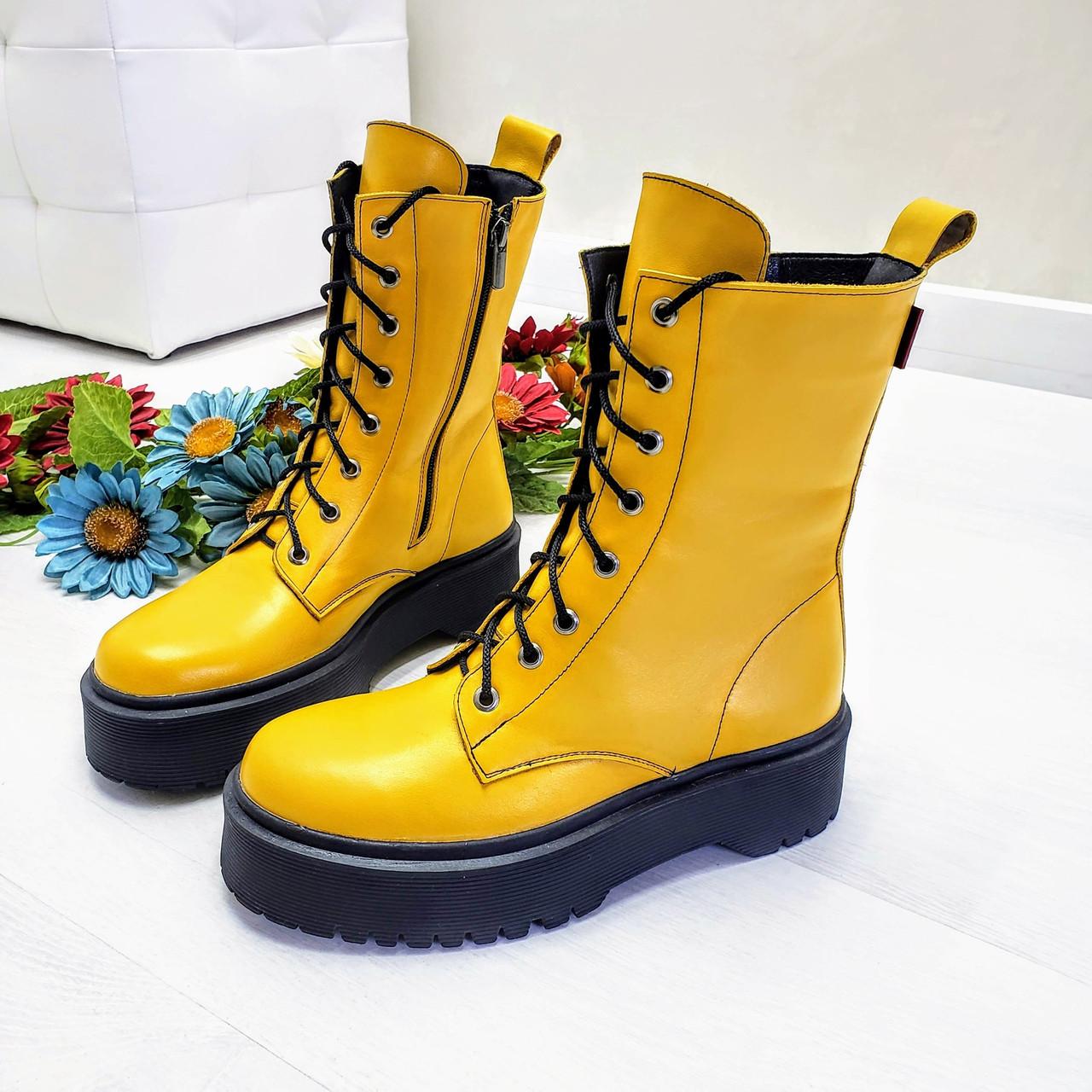 Женские демисезонные ботинки на молнии со шнуровкой