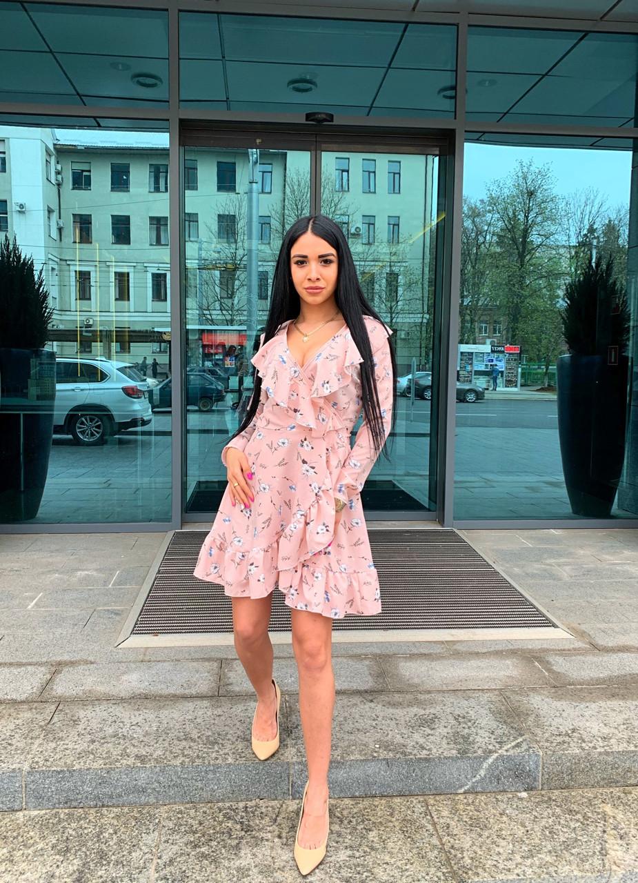 Модное платье с запахом с цветочным принтом