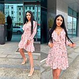 Модное платье с запахом с цветочным принтом, фото 3
