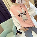 Стильная женская  футболка с принтом зайчика в очках, фото 2