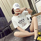 Стильная женская  футболка с принтом зайчика в очках, фото 4