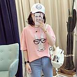 Стильная женская  футболка с принтом зайчика в очках, фото 5