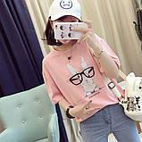 Стильная женская  футболка с принтом зайчика в очках, фото 8