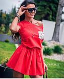 Женское платье красное под пояс с карманом в пайетку, фото 2
