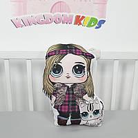 """Игрушка-подушка """"кукла ЛОЛ"""" с котиком с хлопковым велюром на задней стенке"""