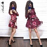 Женское короткое платье в цветочный принт, фото 2