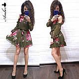 Женское короткое платье в цветочный принт, фото 4