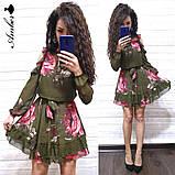 Женское короткое платье в цветочный принт, фото 6