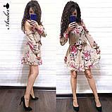 Женское короткое платье в цветочный принт, фото 7