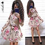 Женское короткое платье в цветочный принт, фото 8