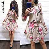 Женское короткое платье в цветочный принт, фото 9
