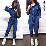 Женский джинсовый комбинезон с карманами и поясом, фото 4