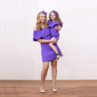 Летний сарафан с воланом для мамы и дочки family look