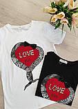 Женская стильная  футболка с надписями Love, фото 2