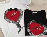 Женская стильная  футболка с надписями Love, фото 3