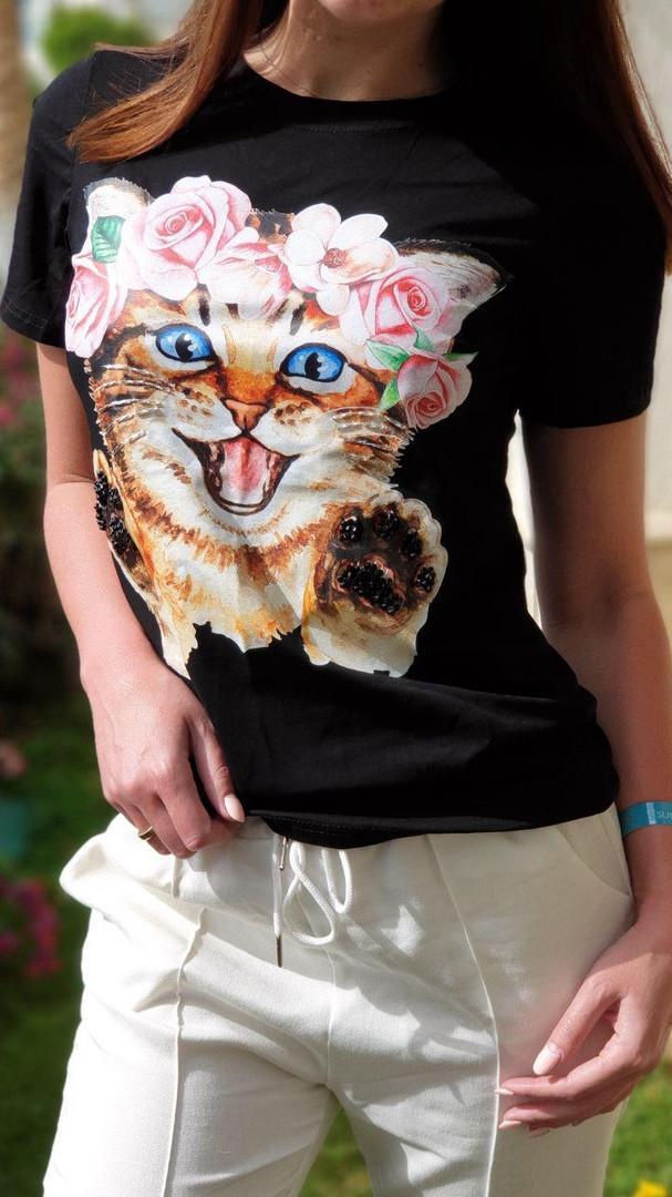Женская стильная  футболка Котик