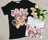Женская стильная  футболка Котик, фото 2