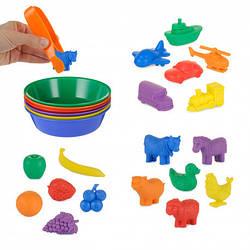 Набір для сортування з тарілочками - (18 фігурок, 6 тарілок, щипці) EDX Education