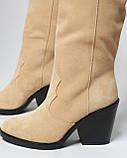 Стильные женские кожаные сапоги, фото 4