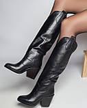 Стильные женские кожаные сапоги, фото 5
