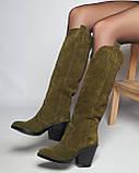 Стильные женские кожаные сапоги, фото 7