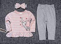 НЕДОРОГО нарядный костюм для новорожденной девочки с повязкой р. 12-18 мес. Турция Слоник паетки, фото 1