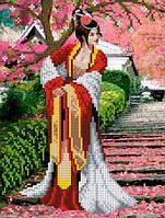 """Схема для вышивки бисером на атласе """"Японский сад"""" Размер 19х25 см."""