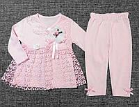 """НЕДОРОГО очень нежный нарядный костюм для новорожденной девочки """"Розочки"""" р. 68 (на 6 мес.)  100% хлопок, фото 1"""