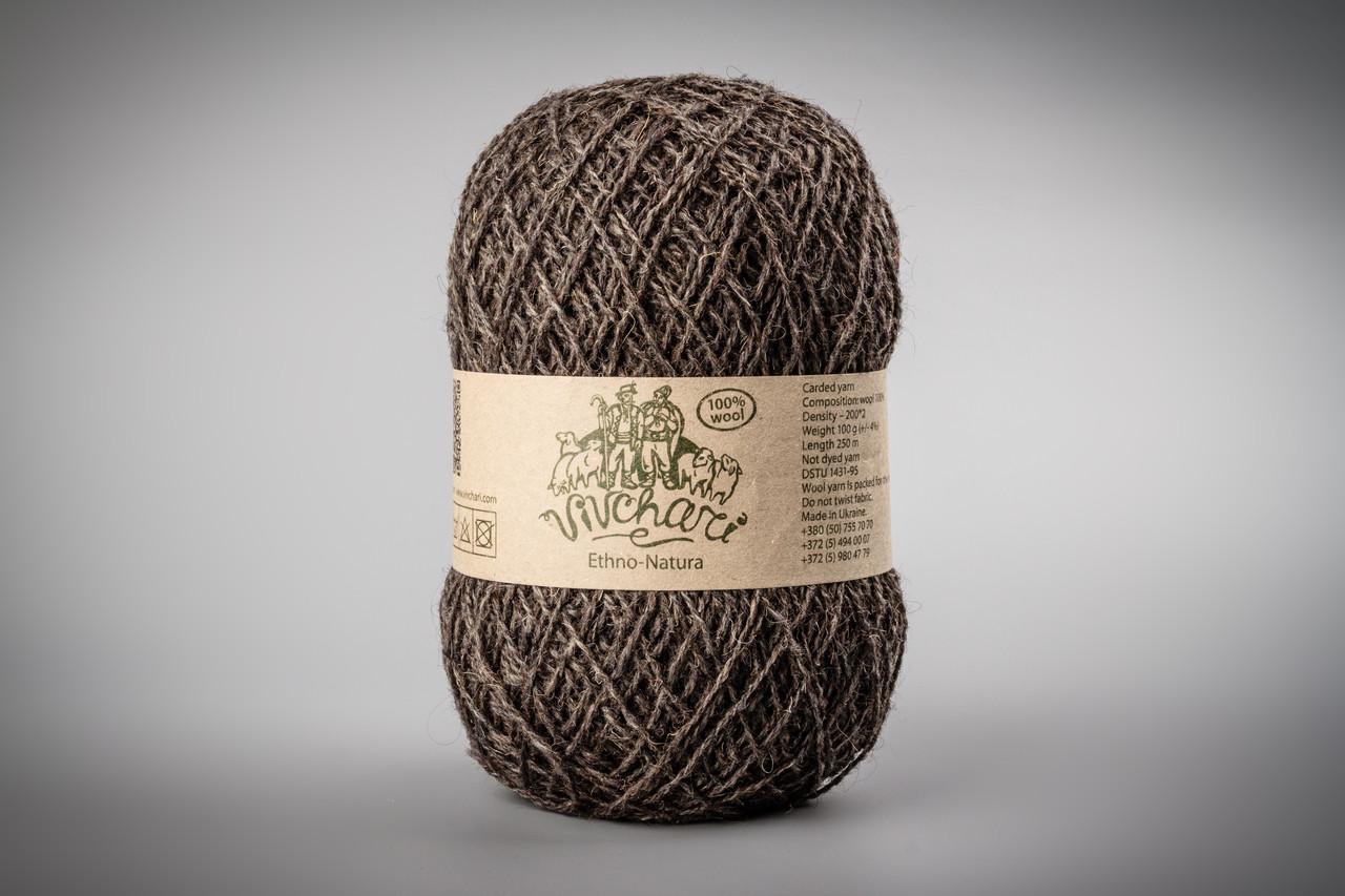 Пряжа шерстяная Vivchari Ethno-Natura Color, Color No.213 темно-коричневый