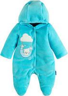 Велюровый комбинезон с капюшоном для новорожденного малыша (подкладка, синтепон), р. 68