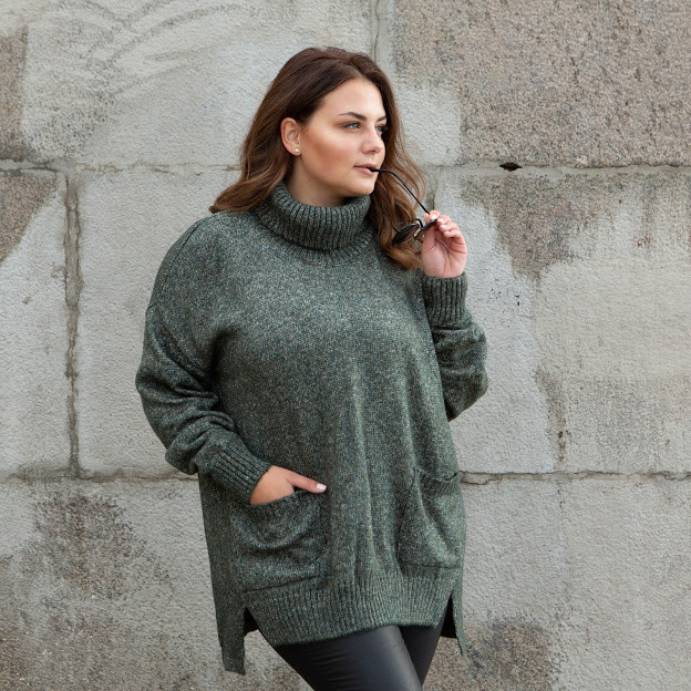 Вязаный трехцветный свитер 46-52 размер