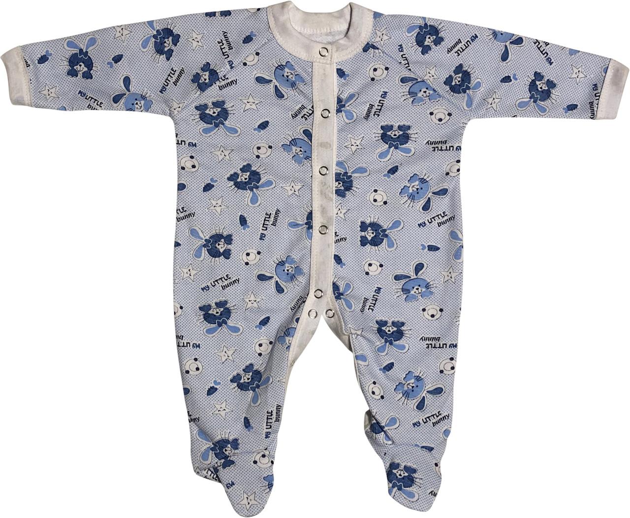 Тёплый человечек слип с начёсом на мальчика рост 56 0-2 мес для новорожденных хлопковый футер детский голубой