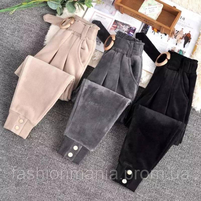 Штаны женские вельветовые бежевый, чёрный, графит 40-42,44-46