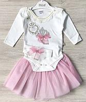 НЕДОРОГО Шикарный набор с повязкой на выписку, на подарок для новорожденной девочки на рост 56, 62 см Турция, фото 1