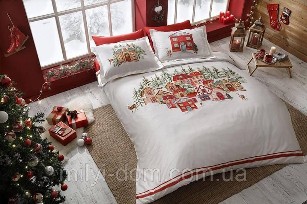 Набор  рождественского постельного двустороннего белья TAC Санта Santa сатин  (евро)