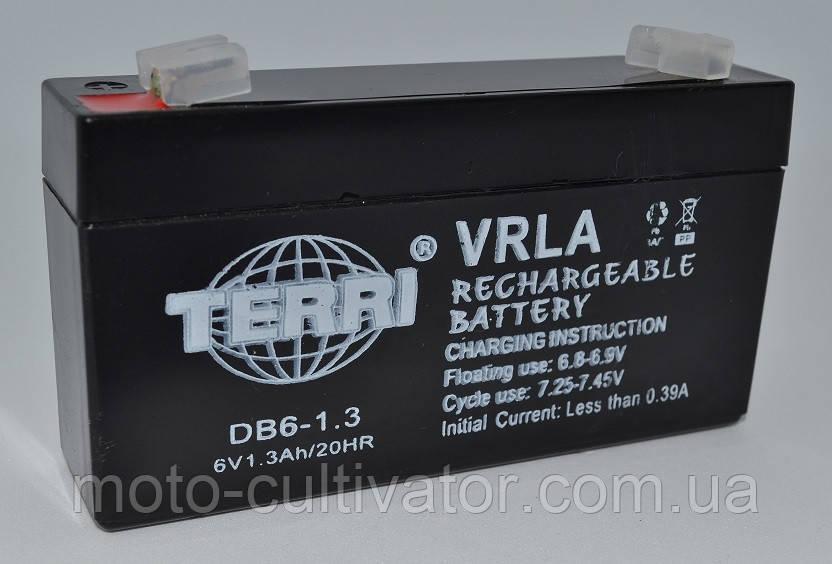 Аккумулятор 6v 1.3a SLA 97*24*52 мм  DB6-1.3 TERRI