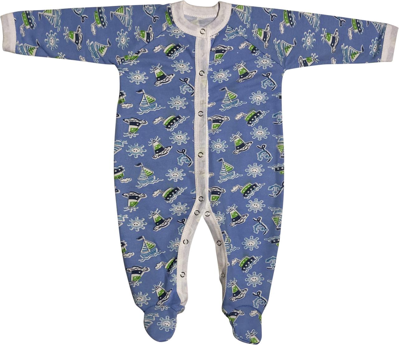 Тёплый человечек слип с начёсом на мальчика рост 86 9-12 мес для новорожденных хлопковый футер детский голубой