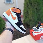 Жіночі кросівки Nike Air Jordan (біло-чорні з помаранчевим) 20240, фото 2