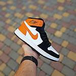 Жіночі кросівки Nike Air Jordan (біло-чорні з помаранчевим) 20240, фото 3