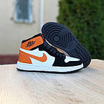 Жіночі кросівки Nike Air Jordan (біло-чорні з помаранчевим) 20240, фото 6