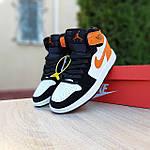 Жіночі кросівки Nike Air Jordan (біло-чорні з помаранчевим) 20240, фото 7