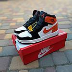 Жіночі кросівки Nike Air Jordan (біло-чорні з помаранчевим) 20240, фото 8