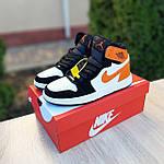 Жіночі кросівки Nike Air Jordan (біло-чорні з помаранчевим) 20240, фото 9