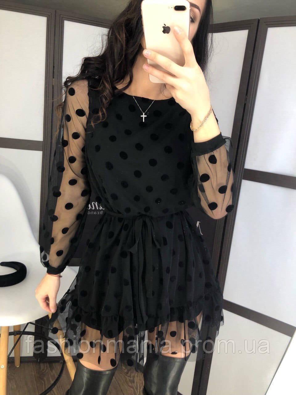 Платье женское в сеточку чёрное 42-44,44-46