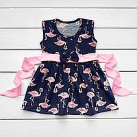 Детское летнее платье Фламинго с Поясом (Кулир)
