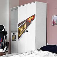 Детский шкаф 3-дверный Форсаж Белый