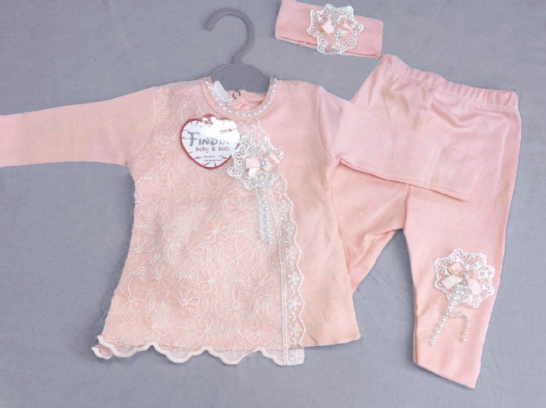 НЕДОРОГО кружевной нарядный костюм для новорожденной девочки с повязкой р. 62 (на 3 мес.)  100% хлопок