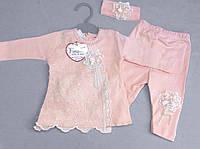 НЕДОРОГО кружевной нарядный костюм для новорожденной девочки с повязкой р. 62 (на 3 мес.)  100% хлопок, фото 1